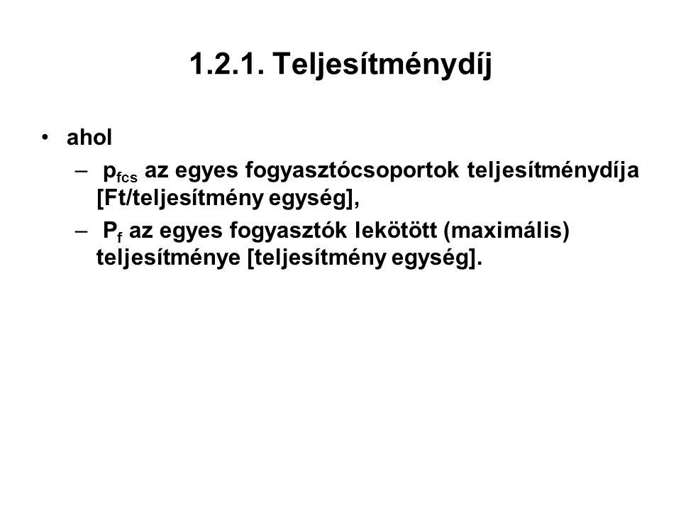 1.2.1. Teljesítménydíj ahol. pfcs az egyes fogyasztócsoportok teljesítménydíja [Ft/teljesítmény egység],